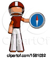Poster, Art Print Of Orange Football Player Man Holding A Large Compass
