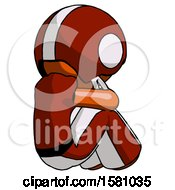 Orange Football Player Man Sitting With Head Down Back View Facing Right