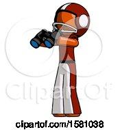 Orange Football Player Man Holding Binoculars Ready To Look Left