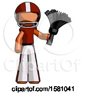 Orange Football Player Man Holding Feather Duster Facing Forward