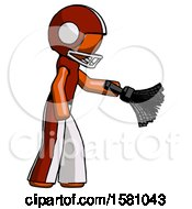Orange Football Player Man Dusting With Feather Duster Downwards