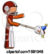 Poster, Art Print Of Orange Football Player Man Holding Jesterstaff - I Dub Thee Foolish Concept