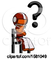 Poster, Art Print Of Orange Football Player Man Question Mark Concept Sitting On Chair Thinking