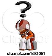 Poster, Art Print Of Orange Football Player Man Thinker Question Mark Concept