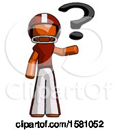 Orange Football Player Man Holding Question Mark To Right