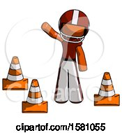 Orange Football Player Man Standing By Traffic Cones Waving