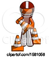 Orange Football Player Man Holding A Traffic Cone