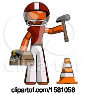 Orange Football Player Man Under Construction Concept Traffic Cone And Tools