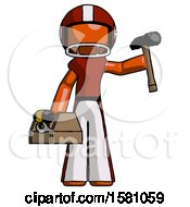 Orange Football Player Man Holding Tools And Toolchest Ready To Work