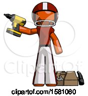 Orange Football Player Man Holding Drill Ready To Work Toolchest And Tools To Right