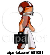 Poster, Art Print Of Orange Football Player Man Walking With Briefcase To The Right