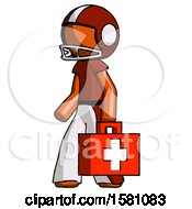 Orange Football Player Man Walking With Medical Aid Briefcase To Left