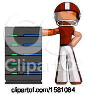 Orange Football Player Man With Server Rack Leaning Confidently Against It
