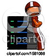 Orange Football Player Man Resting Against Server Rack Viewed At Angle