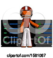 Orange Football Player Man With Server Racks In Front Of Two Networked Systems