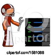 Orange Football Player Man Server Administrator Doing Repairs