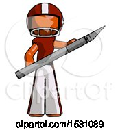 Orange Football Player Man Holding Large Scalpel