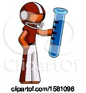 Orange Football Player Man Holding Large Test Tube