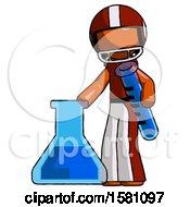 Orange Football Player Man Holding Test Tube Beside Beaker Or Flask