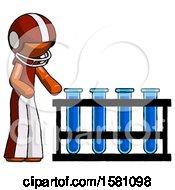 Orange Football Player Man Using Test Tubes Or Vials On Rack