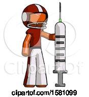 Orange Football Player Man Holding Large Syringe
