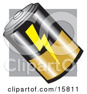 D Battery With A Lightning Symbol And Gold And Black Clipart Illustration