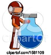 Orange Football Player Man Standing Beside Large Round Flask Or Beaker