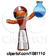 Orange Football Player Man Holding Large Round Flask Or Beaker