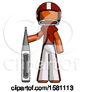 Orange Football Player Man Standing With Large Thermometer