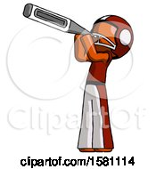 Orange Football Player Man Thermometer In Mouth