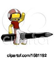 Yellow Football Player Man Riding A Pen Like A Giant Rocket