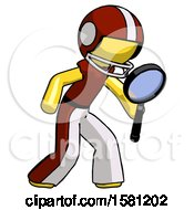 Yellow Football Player Man Inspecting With Large Magnifying Glass Right
