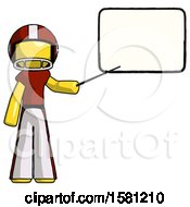 Yellow Football Player Man Giving Presentation In Front Of Dry Erase Board