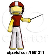 Yellow Football Player Man Teacher Or Conductor With Stick Or Baton Directing