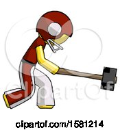 Yellow Football Player Man Hitting With Sledgehammer Or Smashing Something