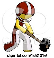 Yellow Football Player Man Hitting With Sledgehammer Or Smashing Something At Angle
