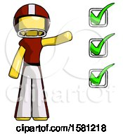 Yellow Football Player Man Standing By List Of Checkmarks