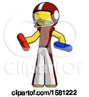 Yellow Football Player Man Red Pill Or Blue Pill Concept
