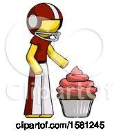 Yellow Football Player Man With Giant Cupcake Dessert