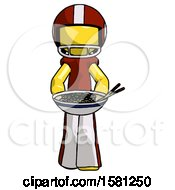 Yellow Football Player Man Serving Or Presenting Noodles