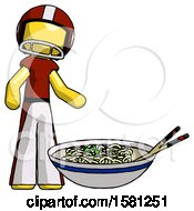 Yellow Football Player Man And Noodle Bowl Giant Soup Restaraunt Concept