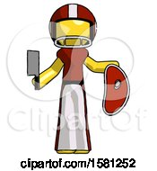 Yellow Football Player Man Holding Large Steak With Butcher Knife