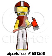 Yellow Football Player Man Holding Red Fire Fighters Ax