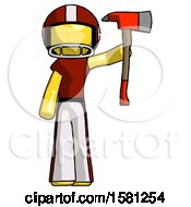 Yellow Football Player Man Holding Up Red Firefighters Ax