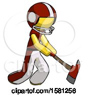 Yellow Football Player Man Striking With A Red Firefighters Ax