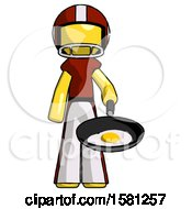 Poster, Art Print Of Yellow Football Player Man Frying Egg In Pan Or Wok