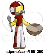 Yellow Football Player Man With Empty Bowl And Spoon Ready To Make Something
