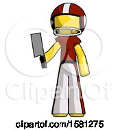 Yellow Football Player Man Holding Meat Cleaver