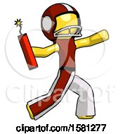 Yellow Football Player Man Throwing Dynamite