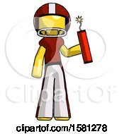 Yellow Football Player Man Holding Dynamite With Fuse Lit